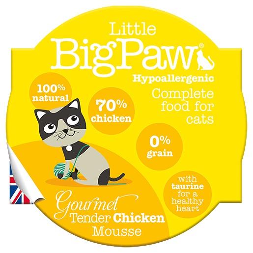 Konservi kaķiem - Little Big Paw Gourmet Tender Chicken Mousse 85g.
