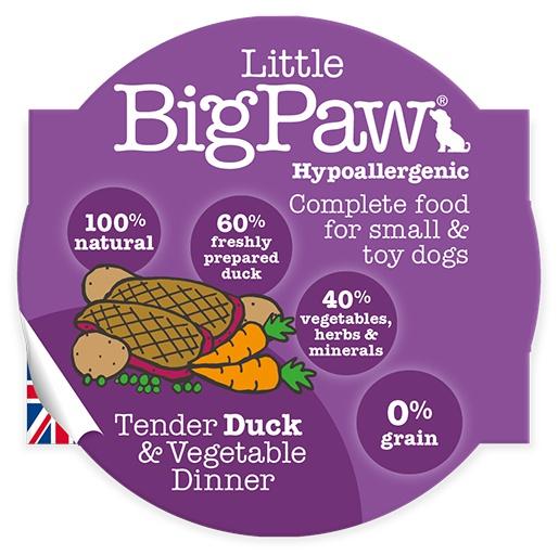 Konservi suņiem - Little Big Paw Tender pīles gaļa un dārzeņi, 85 g