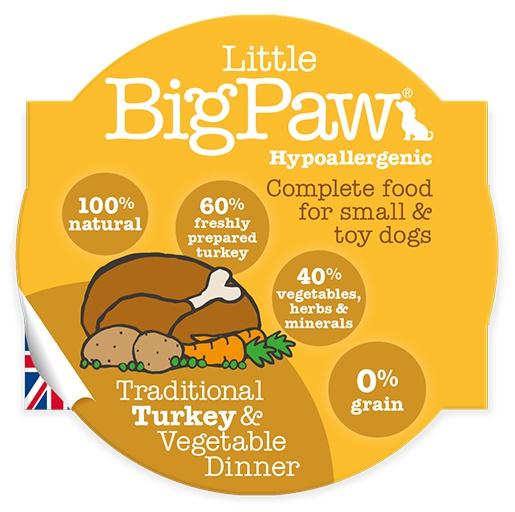 Konservi suņiem - Little Big Paw Traditional tītara gaļa un dārzeņi, 85 g