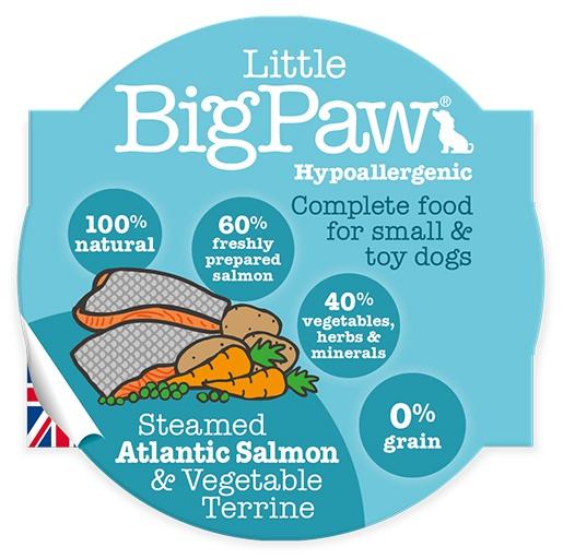 Konservi suņiem - Little Big Paw Steamed atlantijas lasis un dārzeņi, 85 g
