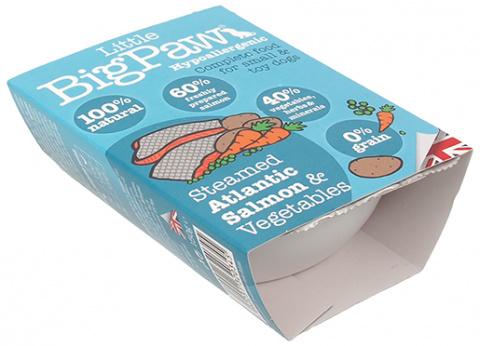 Konservi suņiem - Little Big Paw Steamed Atlantic Salmon & Vegetable Dinner, 150g title=