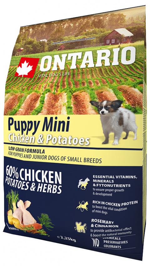 Barība kucēniem - Ontario Puppy Mini Chicken & Potatoes, 2,25 kg title=