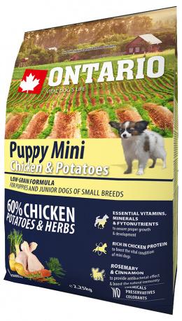 Barība kucēniem - Ontario Puppy Mini Chicken & Potatoes, 2.25 kg
