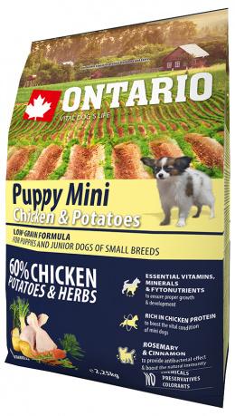 Barība kucēniem - Ontario Puppy Mini Chicken and Potatoes, 2,25 kg