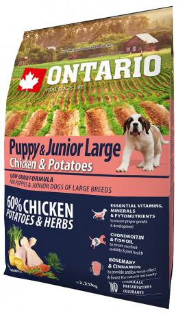 Barība kucēniem - ONTARIO Puppy & Junior Large Chicken & Potatoes, 2.25 kg