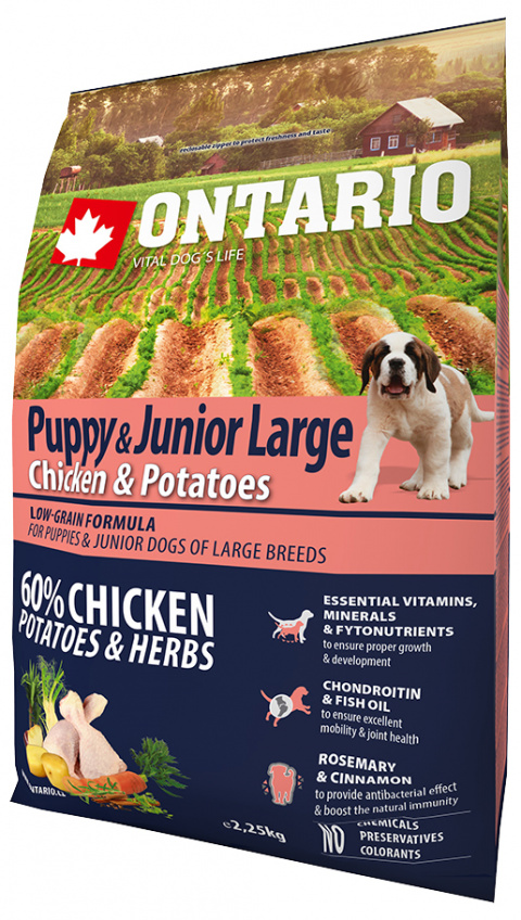 Корм для щенков - ONTARIO Puppy & Junior Large Chicken & Potatoes, 2.25 кг