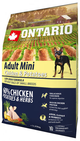 Bar­ība suņiem - ONTARIO Adult Mini Chicken & Potatoes, 2,25 kg