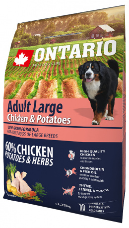 Barība suiem - Ontario Adult Large Chicken & Potatoes 2,25kg