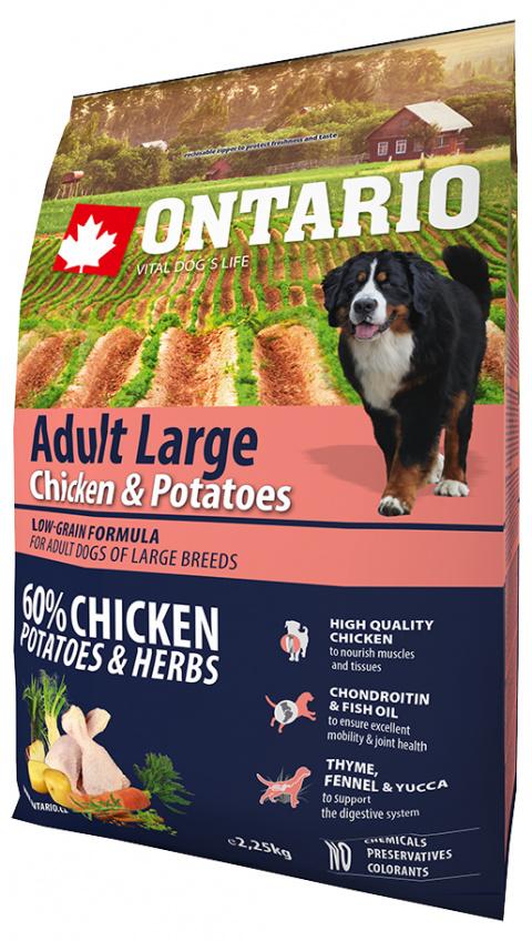Корм для собак - ONTARIO Adult Large Chicken & Potatoes, 2,25 кг title=