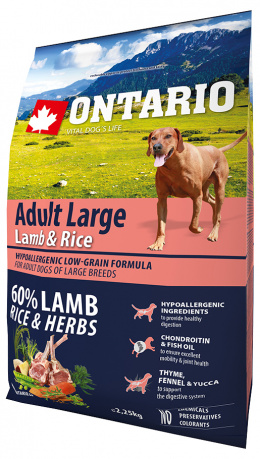 Bar­ība suņiem - ONTARIO Adult Large Lamb & Rice, 2,25 kg