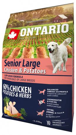 Barība suņiem - ONTARIO Senior Large Chicken & Potatoes, 2,25 kg