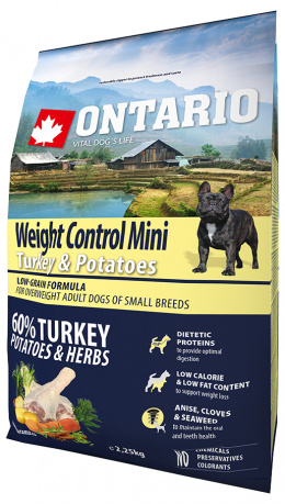 Barī­ba suņiem - ONTARIO Mini Weight Control Turkey & Potatoes, 2.25 kg