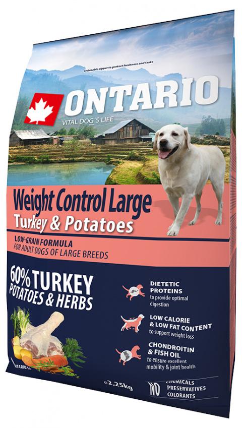 Корм для собак - ONTARIO Large Weight Control Turkey & Potatoes, 2.25 кг