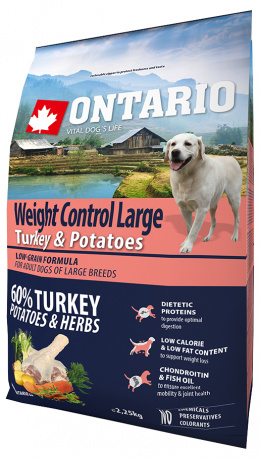 Корм для собак - ONTARIO Large Weight Control Turkey & Potatoes 2.25кг