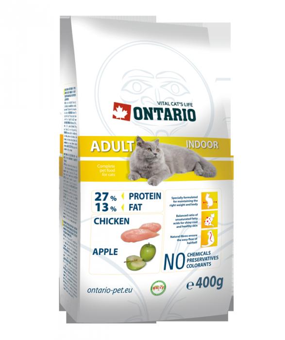 Barība kaķiem - Ontario Adult Indoor, 400 g