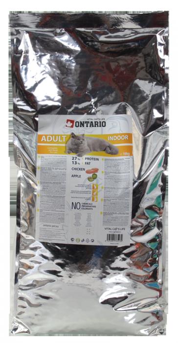 Barība kaķiem - Ontario Adult Indoor, 10 kg