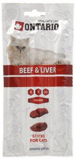 Gardums kaķiem - ONTARIO Stick for cats Beef & Liver, 15 g