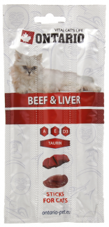 Лакомство для кошек - ONTARIO Stick for cats Beef and Liver, 15 г title=