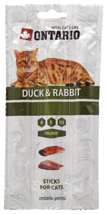 Gardums kaķiem - ONTARIO Stick for cats Duck and Rabbit, 15 g