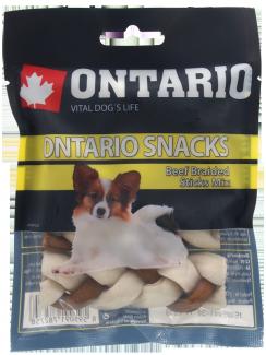 Gardums suņiem - Ontario Rawhide Snack Braided Stick Mix 7,5 cm (4 gab.) title=
