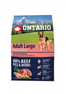 Barība suņiem - ONTARIO Adult Large Beef & Rice, 2,25 kg title=