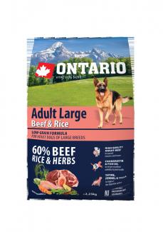 Корм для собак - ONTARIO Adult Large Beef & Rice, 2.25 кг
