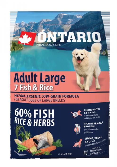 Barība suņiem - ONTARIO Adult Large Fish & Rice, 2,25 kg