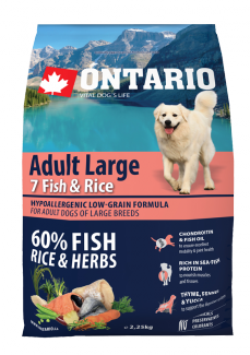 Barība suņiem - ONTARIO Adult Large Fish & Rice 2.25kg