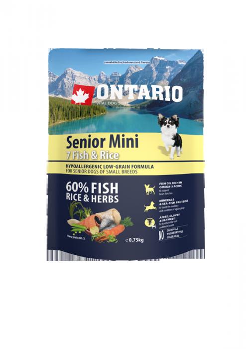 Корм для собак - ONTARIO Senior Mini Fish & Rice, 0.75 кг