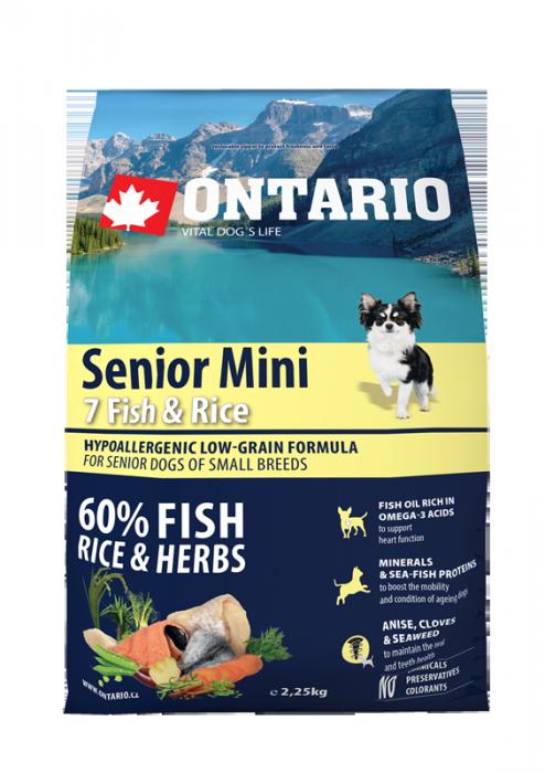Barība suņiem - ONTARIO Senior Mini Fish & Rice, 2,25 kg