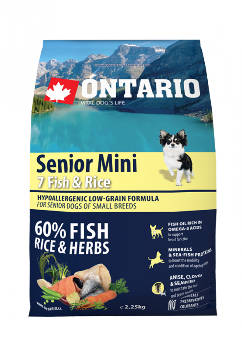 Корм для собак - ONTARIO Senior Mini Fish & Rice, 2,25 кг