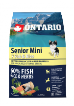Корм для собак - ONTARIO Senior Mini Fish & Rice, 2.25 кг