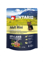 Barība suņiem – ONTARIO Adult Mini Lamb and Rice, 0,75 kg