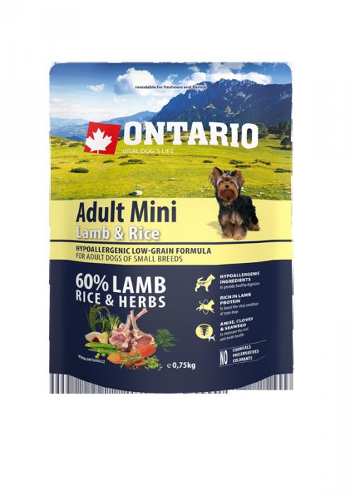Корм для собак - ONTARIO Adult Mini Lamb & Rice, 0.75 кг