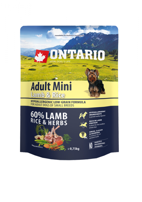 Корм для собак - ONTARIO Adult Mini Lamb & Rice 0.75kg