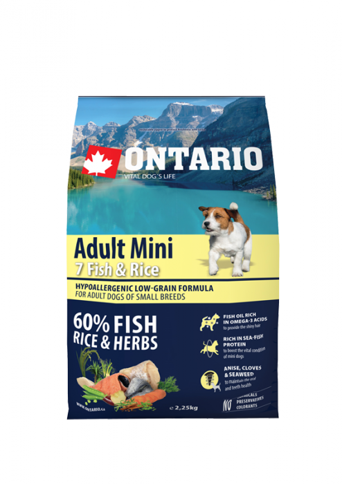 Barība suņiem - ONTARIO Adult Mini Fish and Rice, 2,25 kg