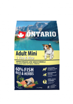Barība suņiem - ONTARIO Adult Mini Fish and Rice, 2.25 kg
