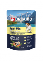 Barība suņiem - ONTARIO Adult Mini Fish & Rice, 0.75 kg