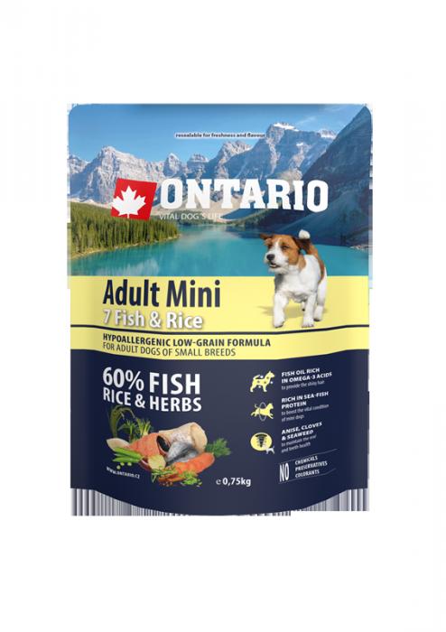 Barība suņiem - ONTARIO Adult Mini Fish and Rice, 0,75 kg