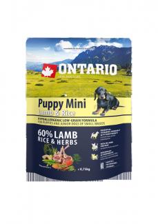 Barība suņiem – ONTARIO Puppy Mini Lamb and Rice, 0,75 kg title=