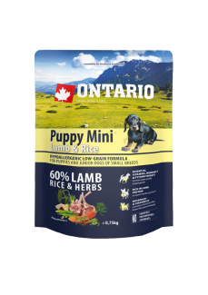 Корм для собак - ONTARIO Puppy Mini Lamb & Rice, 0.75 кг