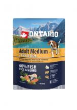 Barība suņiem – ONTARIO Adult Medium Fish and Rice, 0,75 kg