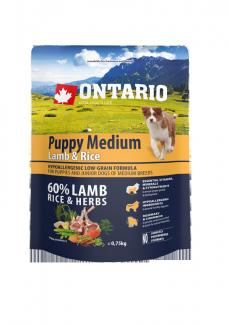 Barība suņiem - ONTARIO Puppy Medium Lamb & Rice, 0,75 kg title=