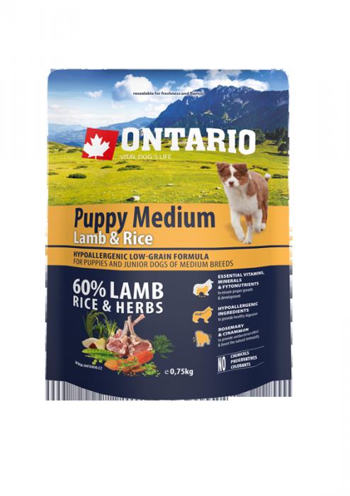Barība suņiem - ONTARIO Puppy Medium Lamb & Rice, 0,75 kg