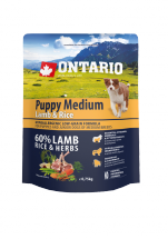 Barība suņiem - ONTARIO Puppy Medium Lamb & Rice, 0.75 kg
