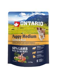 Корм для собак - ONTARIO Puppy Medium Lamb & Rice, 0,75 кг title=