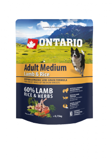 Barība suņiem - ONTARIO Adult Medium Lamb & Rice, 0,75 kg title=