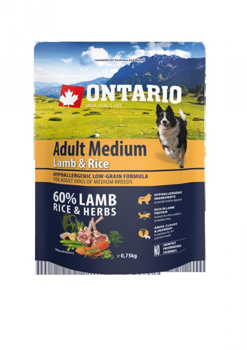 Barība suņiem - ONTARIO Adult Medium Lamb & Rice, 0,75 kg