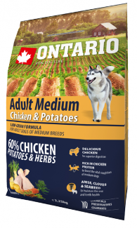 Barība suņiem - ONTARIO Adult Medium Chicken & Potatoes 2.25kg