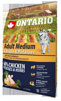 Корм для собак - ONTARIO Adult Medium Chicken & Potatoes, 2.25 кг